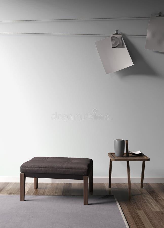 Interno luminoso moderno rappresentazione 3d illustrazione vettoriale
