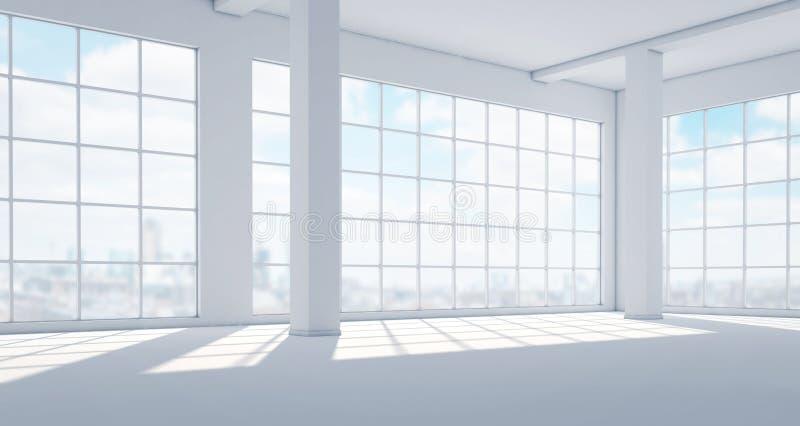 Interno luminoso moderno vuoto con le finestre panoramiche enormi royalty illustrazione gratis