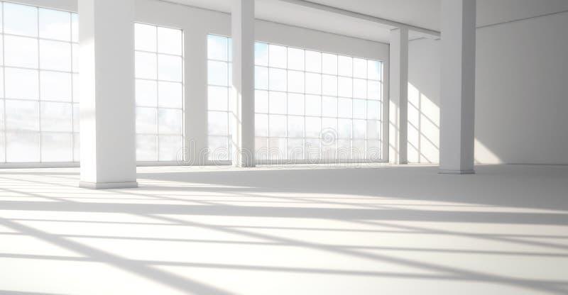Interno luminoso moderno vuoto con le finestre panoramiche enormi 3d ren illustrazione vettoriale