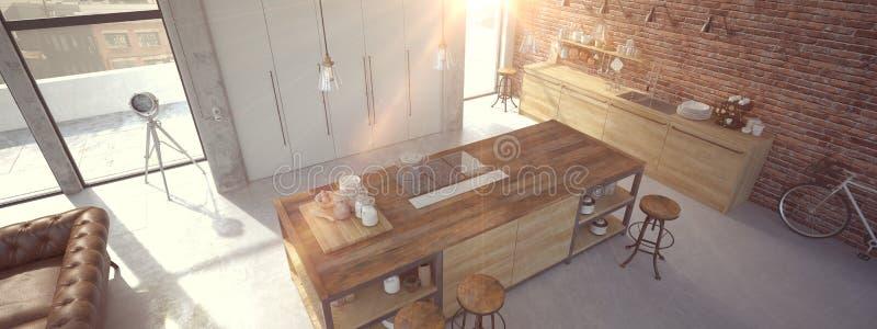 Interno lussuoso della cucina di progettazione moderna rappresentazione 3d fotografie stock libere da diritti
