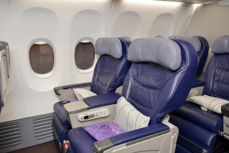 Interno malese di Boeing 737 di linee aeree fotografie stock libere da diritti
