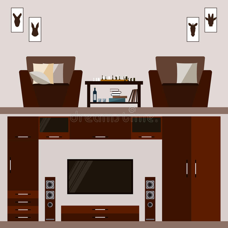 Interno marrone luminoso della stanza isolato sulla copertura delicatamente beige royalty illustrazione gratis