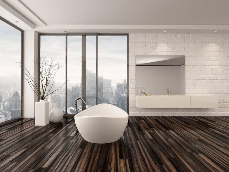 Interno minimalista bianco moderno del bagno illustrazione for Finestre a soffitto