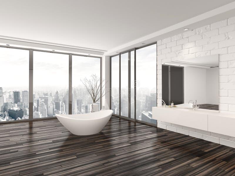 Interno minimalista bianco moderno del bagno illustrazione vettoriale
