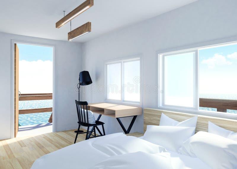 Interno moderno bianco della stanza con la vista del mare e del terrazzo nella località di soggiorno della villa illustrazione vettoriale