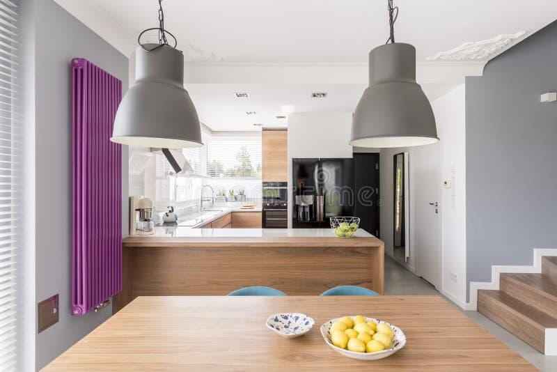 Interno moderno completamente attrezzato della cucina immagini stock