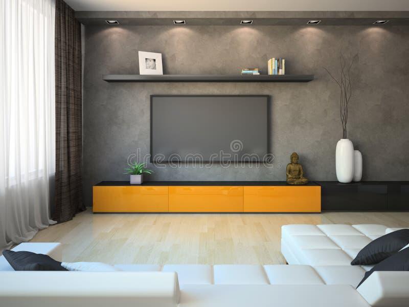 Interno moderno con il gabinetto e la TV arancio royalty illustrazione gratis
