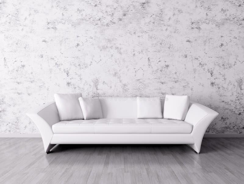 Interno moderno con il sofà bianco royalty illustrazione gratis
