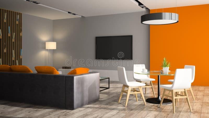Interno moderno con il sofà nero e la parete arancio royalty illustrazione gratis