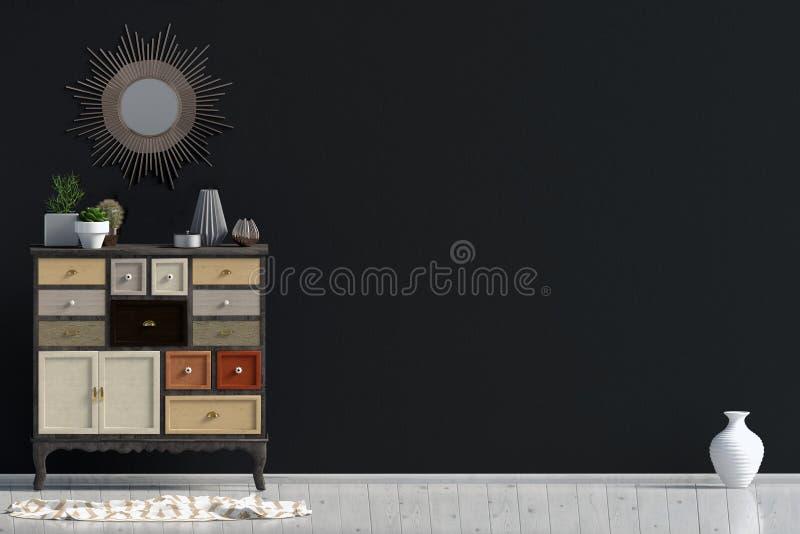 Interno moderno con l'apprettatrice derisione della parete su illustrazione vettoriale