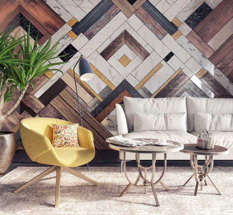 Interno moderno con la poltrona gialla davanti ad una parete di accento fotografie stock