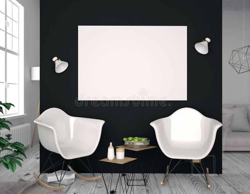 Interno moderno con la sedia di plastica Derisione del manifesto su illustrat 3d illustrazione vettoriale