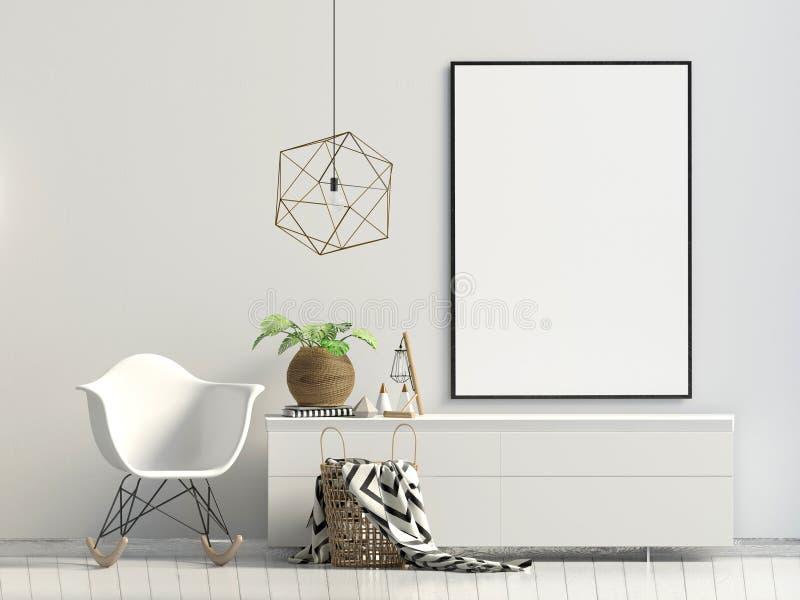 Interno moderno con lo scaffale, la pianta e la sedia Derisione del manifesto su 3D i illustrazione di stock
