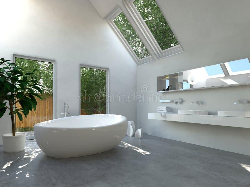 Interno Moderno Del Bagno Con La Vasca Ovale Illustrazione di Stock - Illustrazione di ...