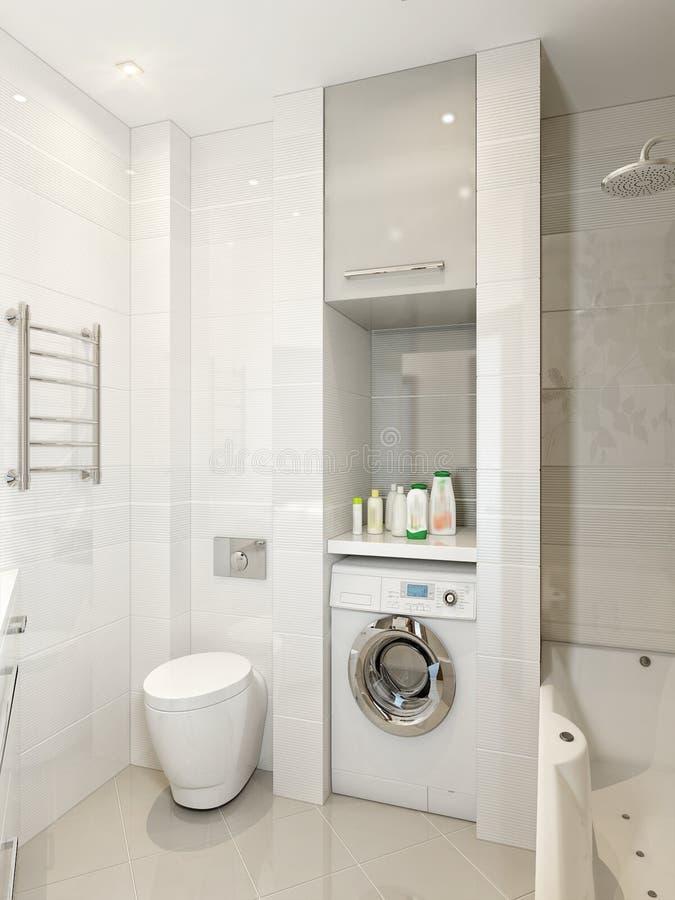Interno moderno del bagno con le mattonelle bianche beige - Mattonelle per bagno moderno ...