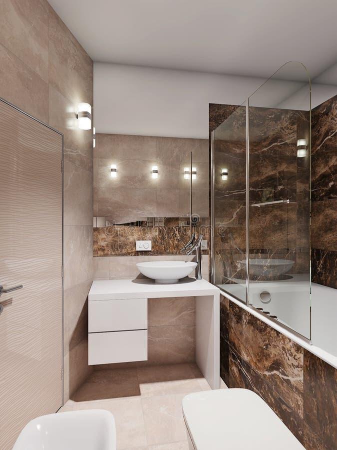 interno moderno del bagno con le mattonelle di marmo beige e ... - Bagni Moderni Beige E Marrone