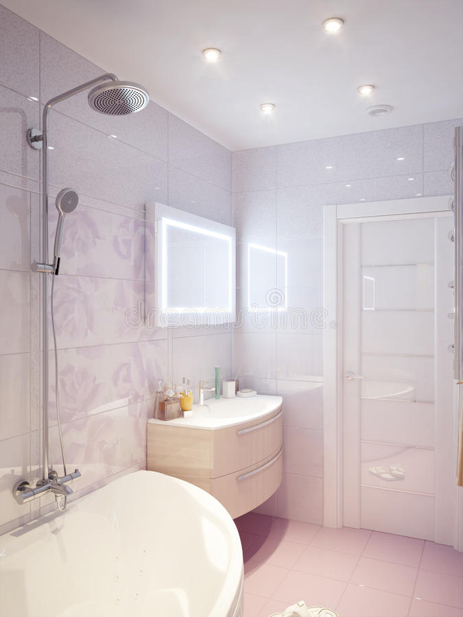 Interno moderno del bagno con le mattonelle rosa e bianche for Interno moderno