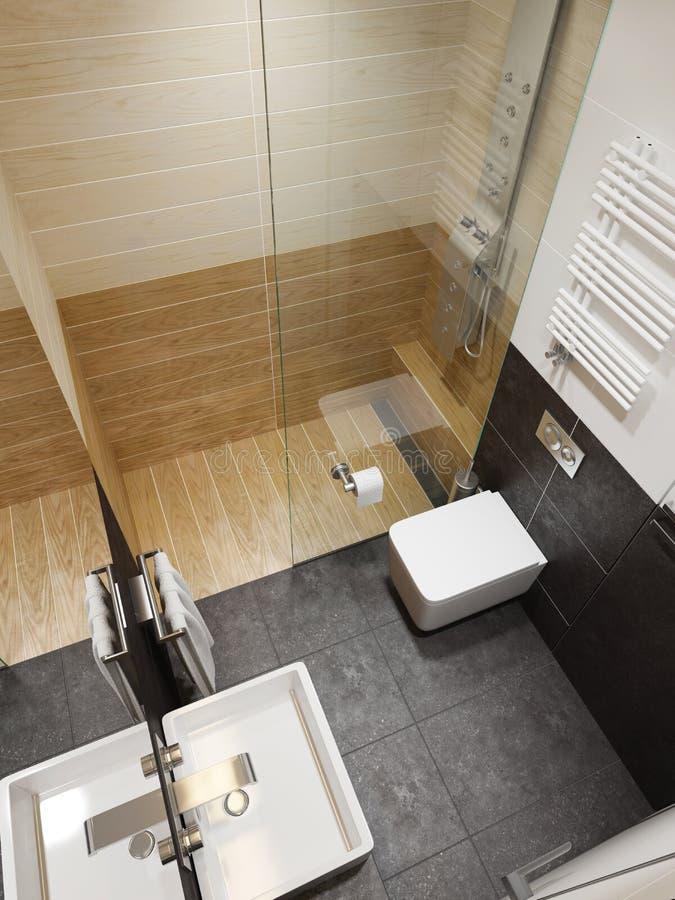 Interno moderno del bagno, rappresentazione 3d illustrazione vettoriale
