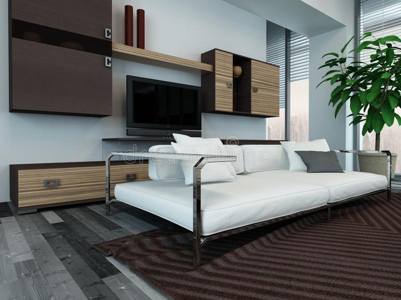 Interno moderno del salone con i gabinetti di legno immagini stock libere da diritti