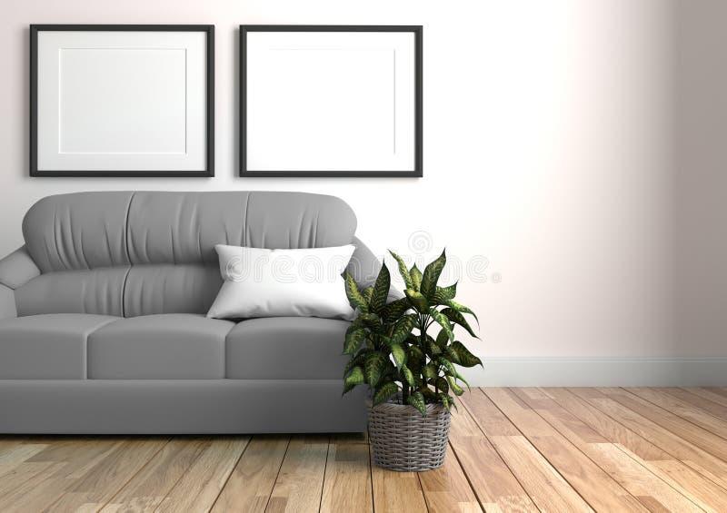 Interno moderno del salone con il sofà e le piante verdi, sofà sul fondo del muro di cemento rappresentazione 3d illustrazione vettoriale