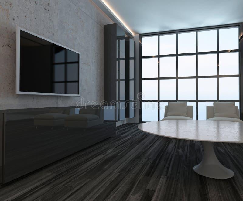 Interno moderno del salone con la finestra ed il pavimento for Pavimento in legno interno