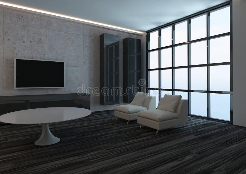 Interno moderno del salone con la finestra ed il pavimento for Pavimento interno moderno