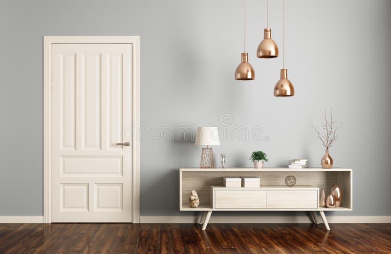 Interno moderno del salone con la rappresentazione della porta 3d illustrazione vettoriale