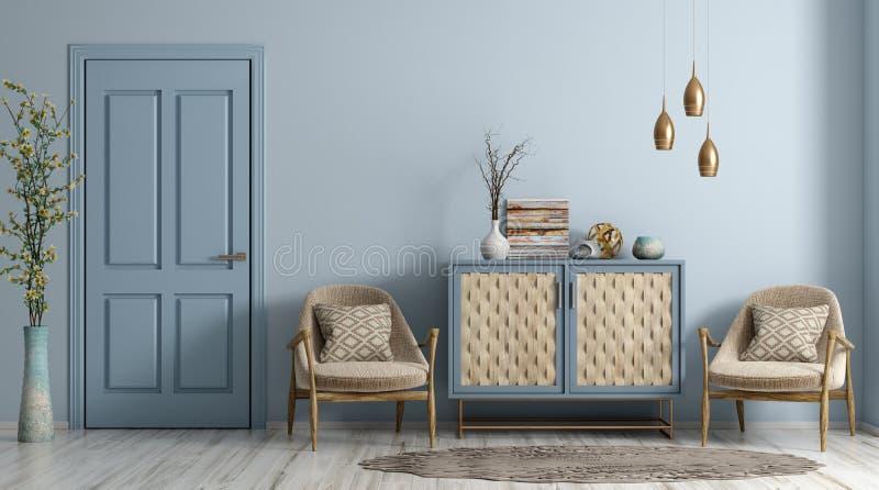 Interno moderno del salone con la rappresentazione delle poltrone e della porta 3d illustrazione di stock