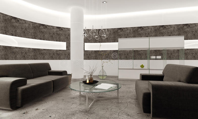 Interno moderno del salone con le mattonelle di pietra ed - Pavimento interno moderno ...