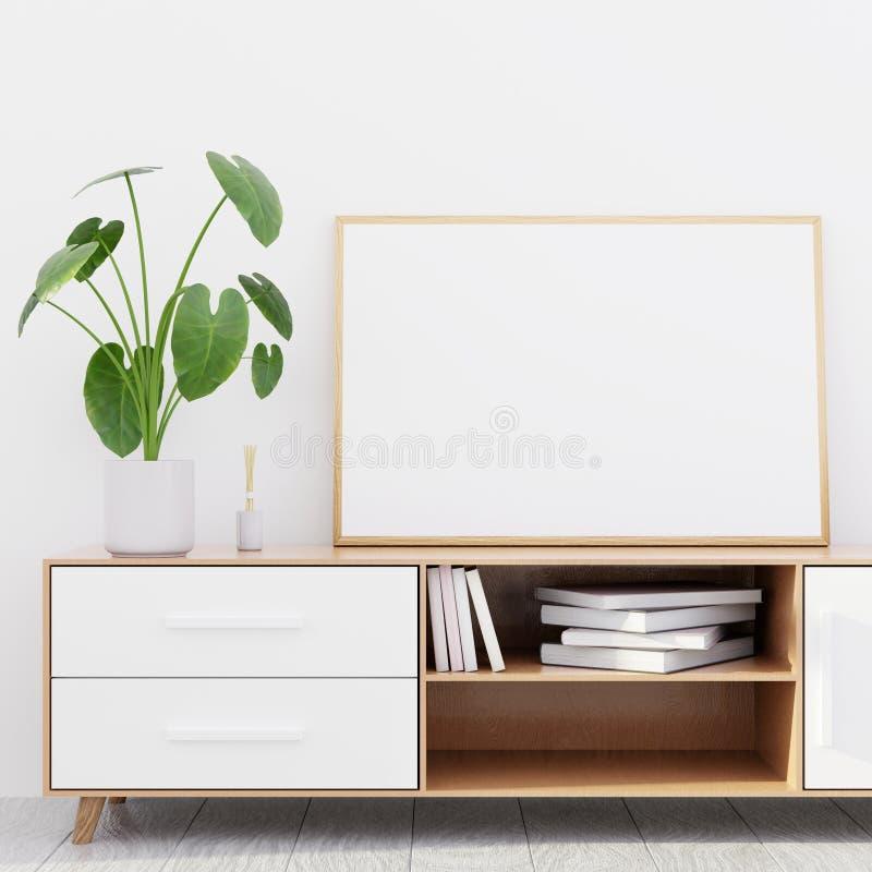 Interno moderno del salone con un'apprettatrice di legno e un modello orizzontale del manifesto, 3D rendere fotografia stock