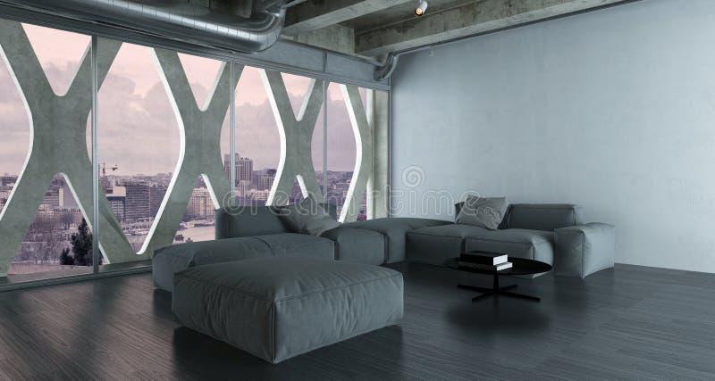 Interno moderno del sottotetto della camera da letto con grande letto matrimoniale fotografie stock