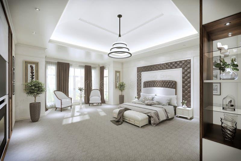 Interno moderno della camera da letto con grande windows - Pavimento interno moderno ...