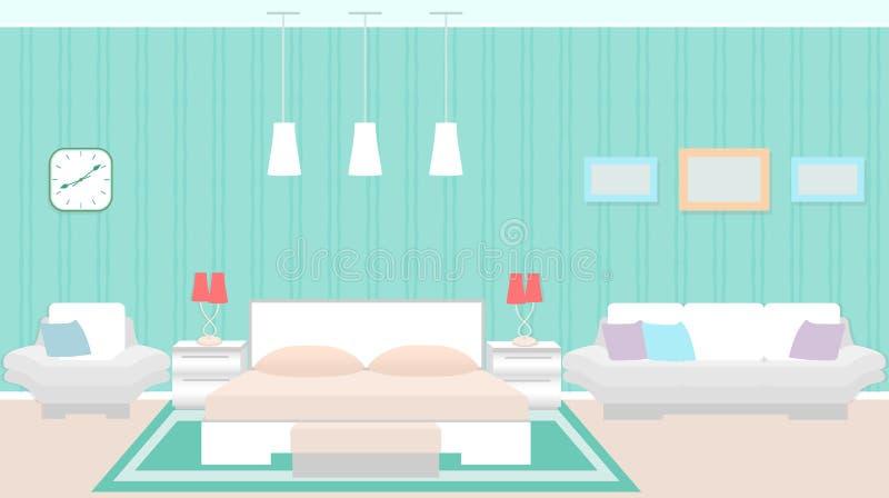 Interno moderno della camera da letto con mobilia compreso il letto, poltrona, sofà illustrazione vettoriale