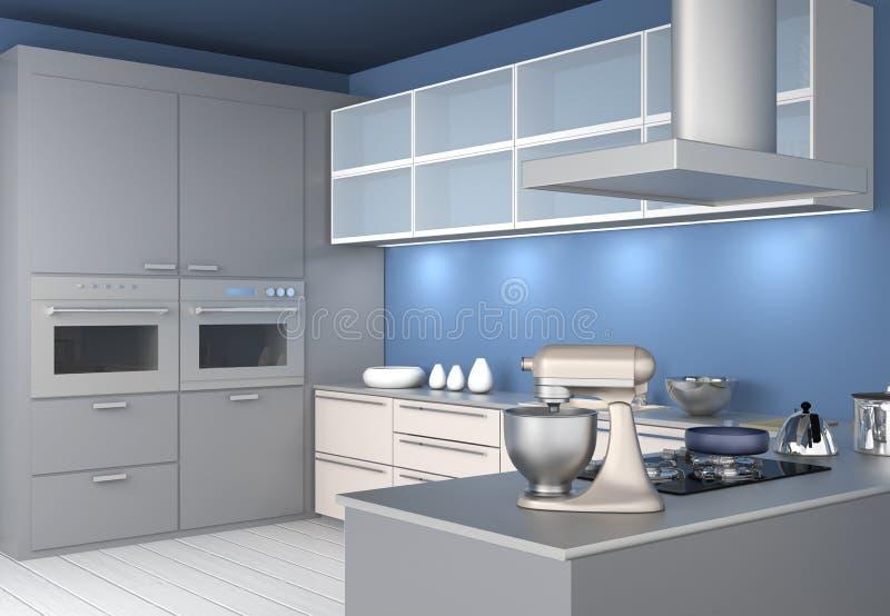 Interno moderno della cucina con la carta da parati blu - Carta da parati da cucina ...