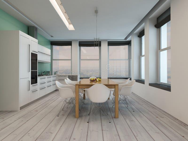 Interno moderno della sala da pranzo della cucina illustrazione di stock
