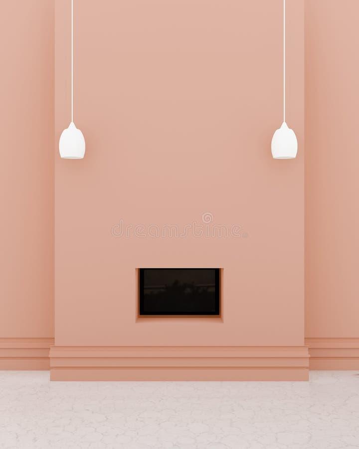 Interno moderno della sala TV, una TV nera nella parete arancio, lightshade 2 su un pavimento di marmo e del parete royalty illustrazione gratis