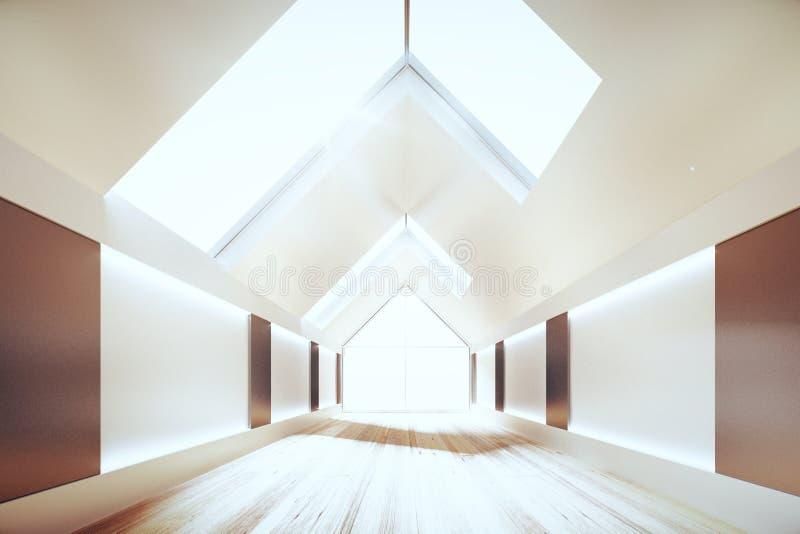 Interno moderno della stanza con il soffitto del triangolo ed il pavimento di legno, 3D royalty illustrazione gratis