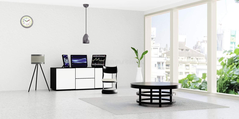 Interno moderno della stanza di lavoro, desktop computer nero 3 messo sul cassetto bianco davanti alla parete bianca royalty illustrazione gratis
