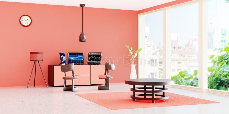 Interno moderno della stanza di lavoro, desktop computer nero 3 su un cassetto davanti alla parete arancio royalty illustrazione gratis
