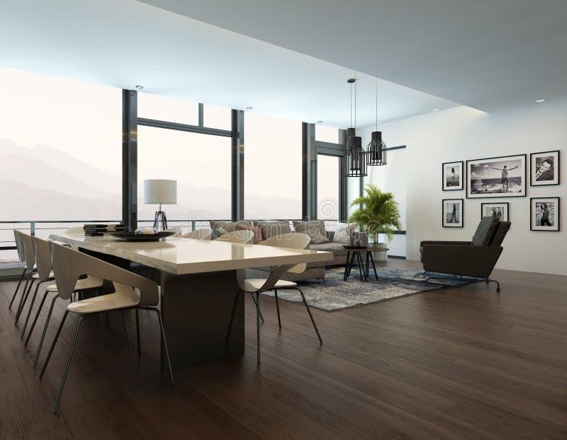 Interno moderno di lusso del salone dell'appartamento illustrazione di stock