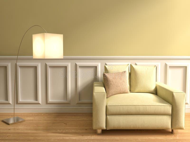Download Interno Nel Colore Beige Con La Sedia E La Lampada Illustrazione 3D Illustrazione di Stock - Illustrazione di beige, lusso: 55355864
