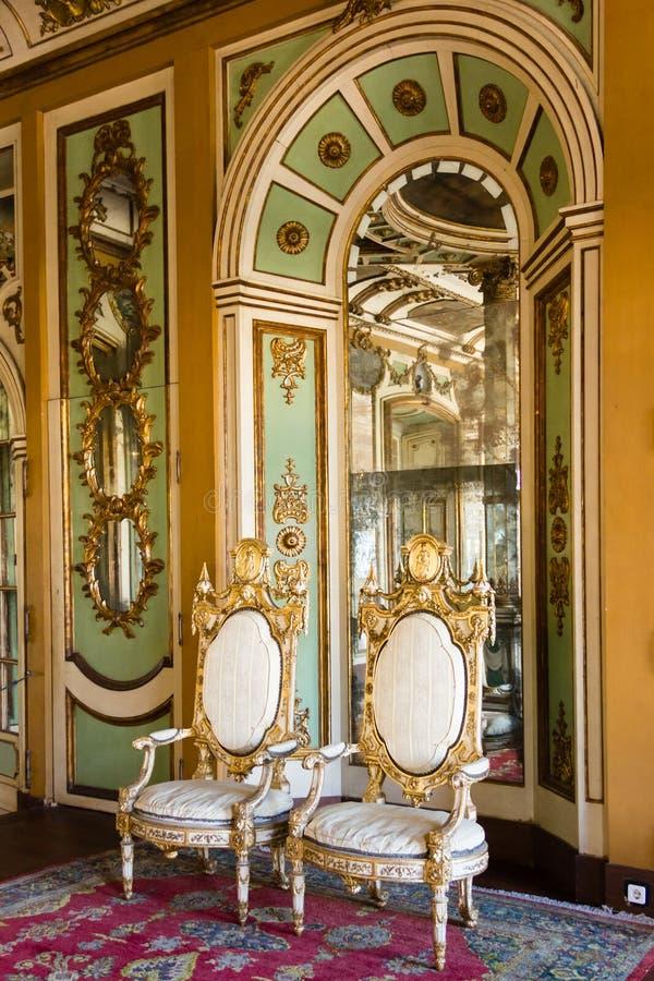 Interno. Palazzo nazionale. Queluz. Il Portogallo fotografia stock