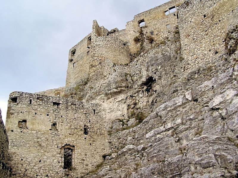 Interno-paredes do castelo de Eslováquia Spissky em uma grande rocha imagem de stock