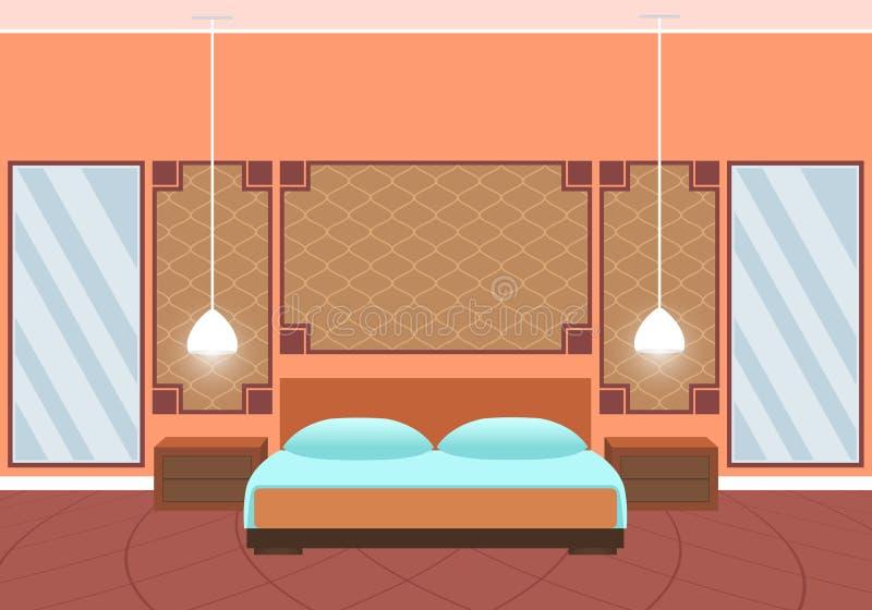 Interno piano della camera di albergo di stile con mobilia e gli specchi enormi illustrazione vettoriale