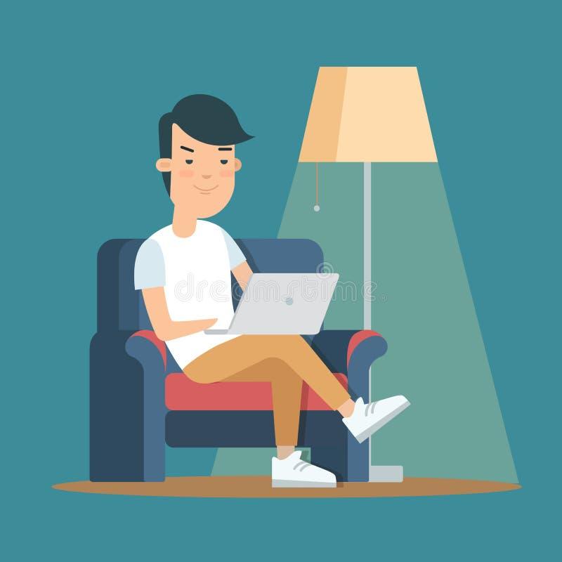 Interno piano della casa dell'uomo con il computer portatile svago illustrazione di stock