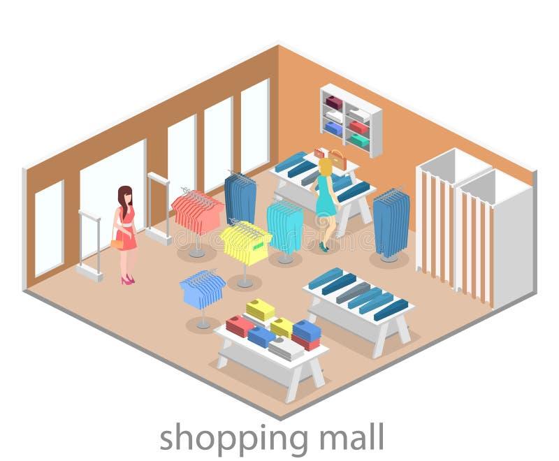 Interno piano infographic isometrico 3D del negozio di vestiti dentro royalty illustrazione gratis