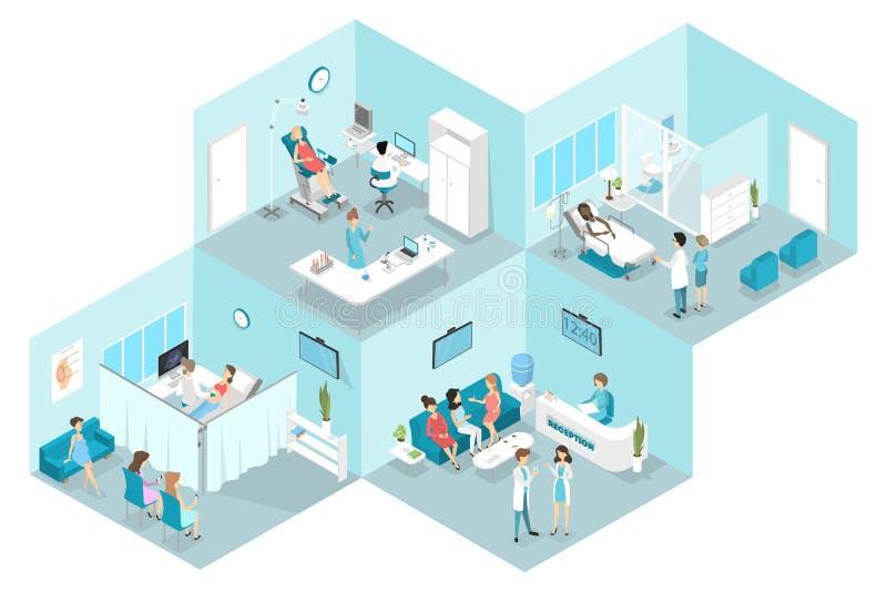 Interno piano isometrico dell'ospedale di ginecologia illustrazione vettoriale