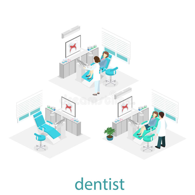 Interno piano isometrico dell'ufficio del ` s del dentista royalty illustrazione gratis