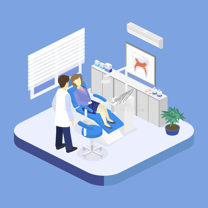 Interno piano isometrico dell'ufficio del ` s del dentista illustrazione di stock