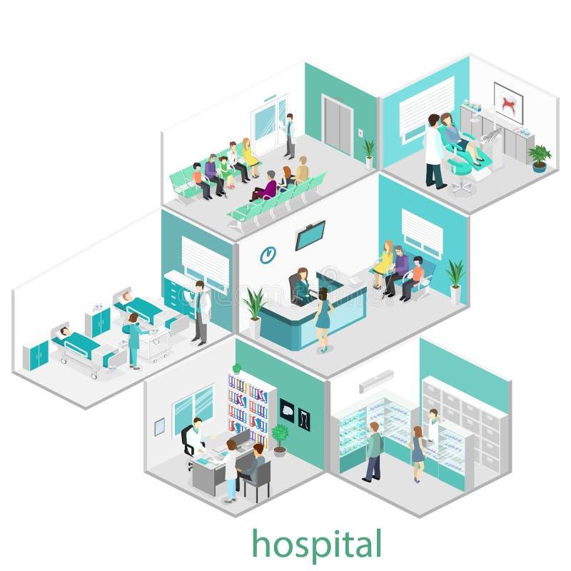 Interno piano isometrico della stanza di ospedale illustrazione vettoriale
